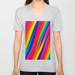 Wonky Rainbow Stripes Unisex V-Neck