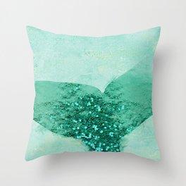 A Mermaid's Tail III, painterly coastal art, aqua metal Throw Pillow