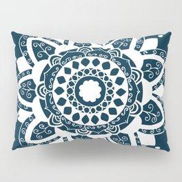 Simple white mandala on navy blue Pillow Sham