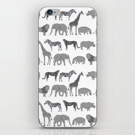 Safari animals minimal grey and white zebra giraffe cheetah hippo rhino nursery iPhone Skin