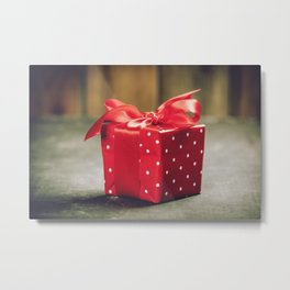 Valentine's Day concept. Gift with red bow on the wooden background Valentines gift box tied with a Metal Print