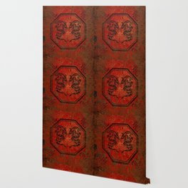 Distressed Dueling Dragons in Octagon Frame With Chinese Dragon Characters Wallpaper
