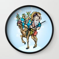 luffy Wall Clocks featuring A One Piece Tony Tony Chopper Christmas by Barrett Biggers