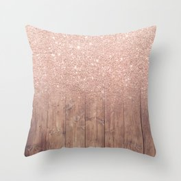 Modern faux rose gold glitter ombre brown rustic wood color block Throw Pillow