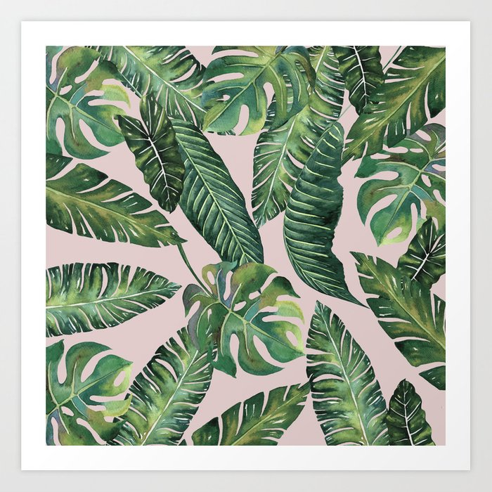 Jungle Leaves, Banana, Monstera Pink #society6 Kunstdrucke