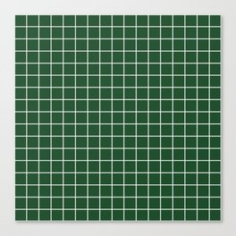Cal Poly Pomona green - green color - White Lines Grid Pattern Canvas Print