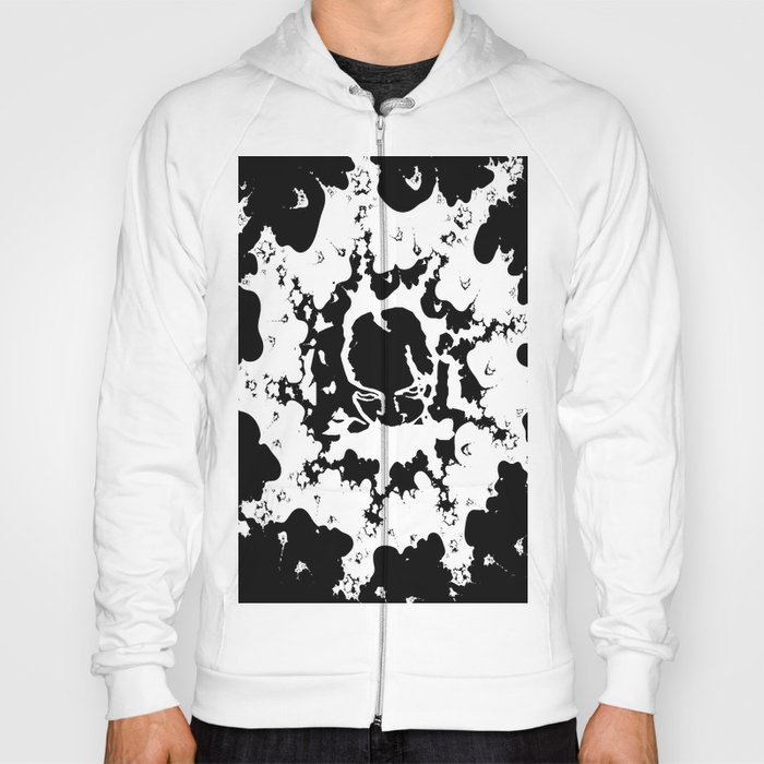 Abstract Black and White with Face Hoody