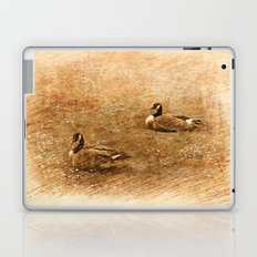 vintage style photography, two ducks on the park grass. Laptop & iPad Skin