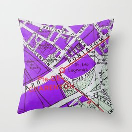 Paris in Purple Throw Pillow