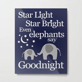 Goodnight Elephant - Nursery Art - Navy and Grey Metal Print