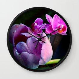 Purple Tulip With Baby Moths Wall Clock