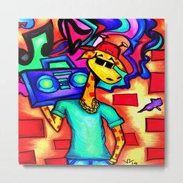 Graffiti Giraffe Metal Print