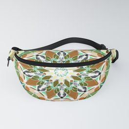 white grey green brown mandala Fanny Pack