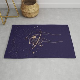 Mystic 94 Minimalist Magical Mystical Golden Line Illustration Outer Space Astrology Planets Stars Solar Systems Zodiac Bohemian Boho Rug