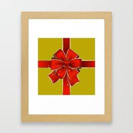 Red Bow on Gold Framed Art Print