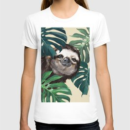 Sneaky Sloth with Monstera T-shirt
