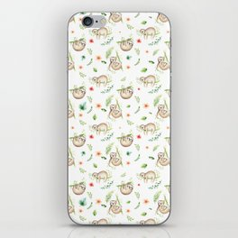 Modern green pink brown watercolor sloth floral pattern iPhone Skin