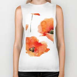 Modern hand painted orange watercolor poppies pattern Biker Tank