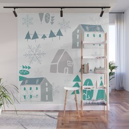 winter holiday houses Wall Mural