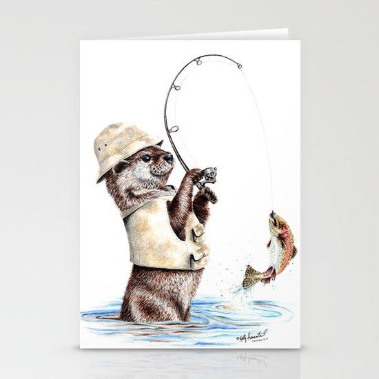 """ Natures Fisherman "" fishing river otter with trout by hollysimental"
