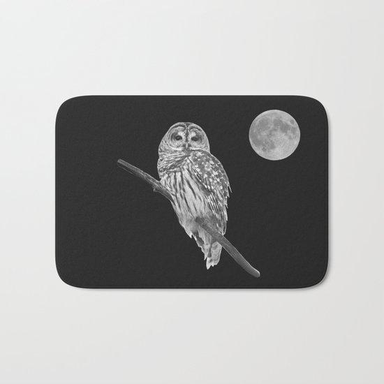 Owl, See the Moon (bw) Bath Mat