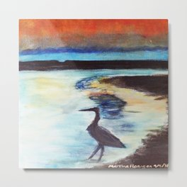 crane standing in the sea at sunset Metal Print