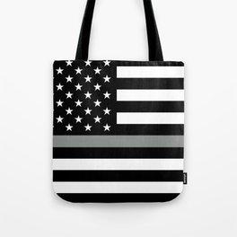 U.S. Flag: Black Flag & The Thin Grey Line Tote Bag
