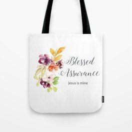 Blessed Assurance with Gray Letters Tote Bag