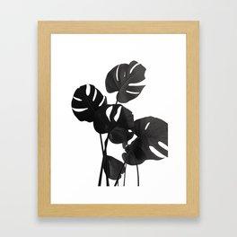 Monstera Leaves Black & White Vibes #1 #minimal #decor #art #society6 Framed Art Print