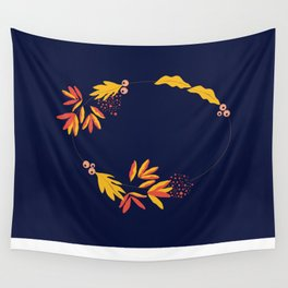 Autumn Wreath Wall Tapestry