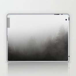 trees in fog - forest landscape - black and white Laptop & iPad Skin