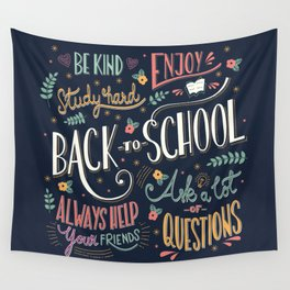 Back to school colorful typography drawing on blackboard with motivational messages, hand lettering Wall Tapestry