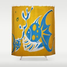Screenprint Gold and Fish Shower Curtain
