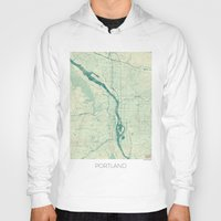 portland Hoodies featuring Portland Map Blue Vintage by City Art Posters