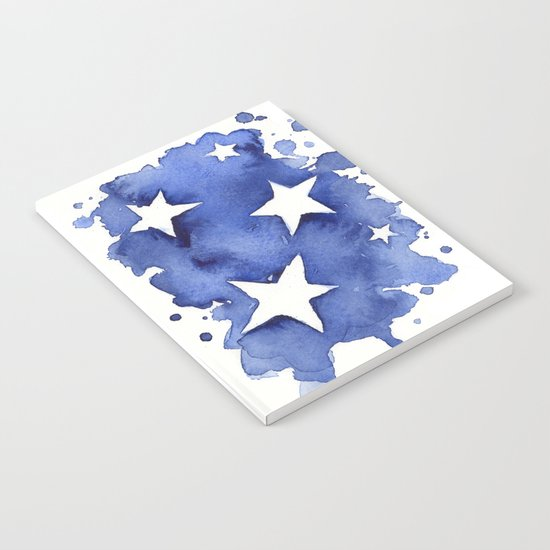 Stars Abstract Blue Watercolor Painting Notebook