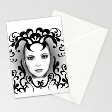 Black and white ornamental face Stationery Cards