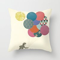 party Throw Pillows featuring Party Girl by Cassia Beck