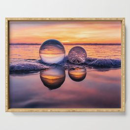 Double Beach Lensball Reflections (purple, pink, orange) Serving Tray