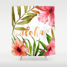 Aloha Watercolor Tropical Hawaiian leaves and flowers Shower Curtain