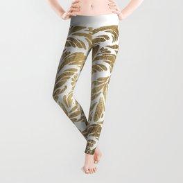 Elegant white chic faux gold foil floral damask pattern Leggings