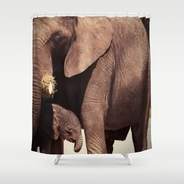 Elephants, mother and child Shower Curtain