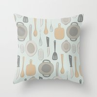 kitchen Throw Pillows featuring kitchen by La Señora