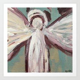 Impressionistic Angel #2 Maroon & Ivory Art Print