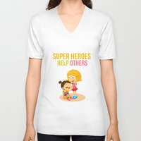 super heroes V-neck T-shirts featuring Super Heroes Help Others by youngmindz