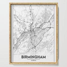Minimal City Maps - Map Of Birmingham, Alabama, United States Serving Tray