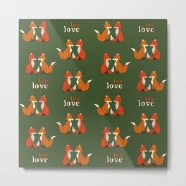 fox couple pattern Metal Print