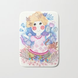 Girl in the garden Bath Mat