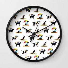 Labrador Beach black lab dog beach  Wall Clock