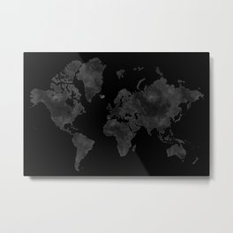 "Black and gray watercolor world map ""Coal mine"" Metal Print"
