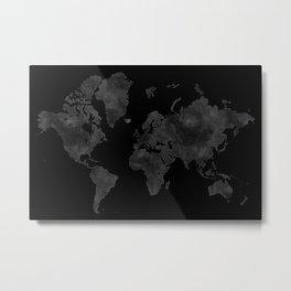 "Black and gray watercolor world map ""Coal mine"" Metal Print"